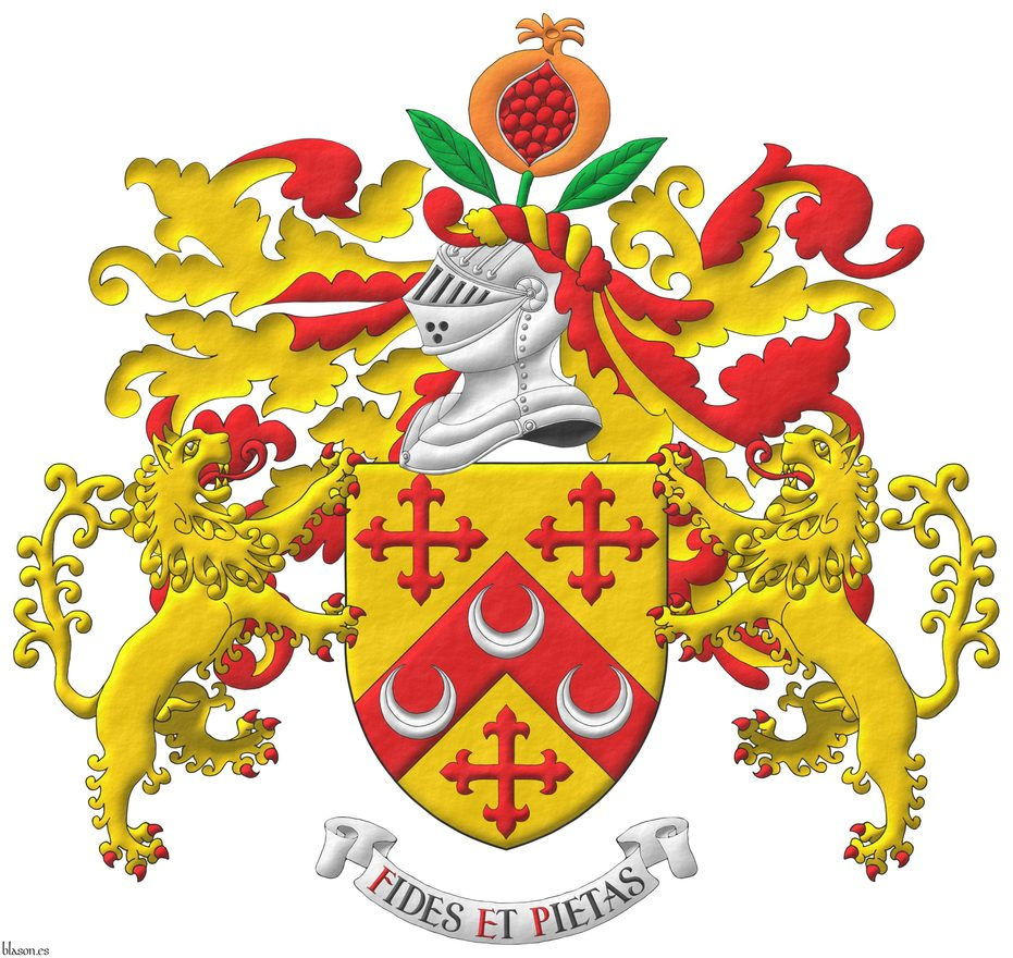 Or, on a chevron, between three crosses flory Gules, three crescents Argent. Crest: Upon a helm, with a wreath Or and Gules, a pomegranate Proper, seeded Gules, slipped and leaved Vert. Mantling: Gules doubled Or. Supporters: Two Lions rampant Or, langued and armed Gules. Motto: «Fides et pietas».