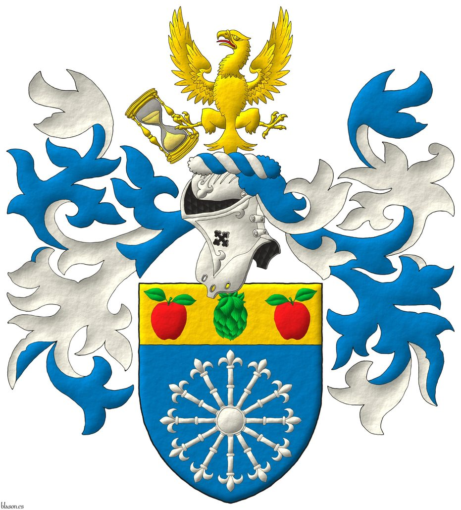 Azure, a carbuncle of twelve rays Argent; on a chief Or, a hop cone Vert between two apples Gules, slipped and leaved Vert. Crest: Upon a helm, with a wreath Argent and Azure, an eagle displayed Or, langued Gules, holding in his dexter talon an hourglass bendwise proper. Mantling: Azure doubled Argent.