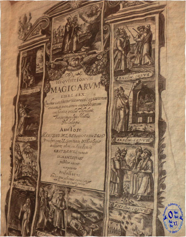Ex libris over the inner cover of the Disquisitionum Magicarum Libri Sex