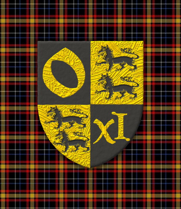 Quarterly: 1 Sable, an «o» Or; 2 and 3 Or, two Wolves Sable, passant, in pale; 4 Sable, an «XI» Or.