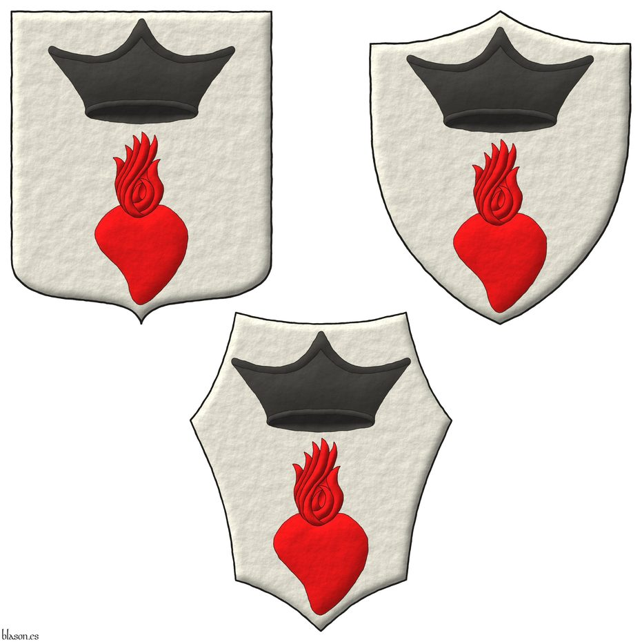 Argent, in chief an ecclesiastical cap Sable, in base a heart enflamed gules.