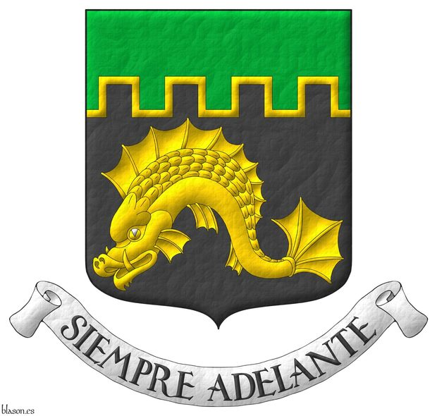 Sable, a dolphin naiant Or; a chief embattled Vert, fimbriated Or. Motto: «Siempre Adelante».