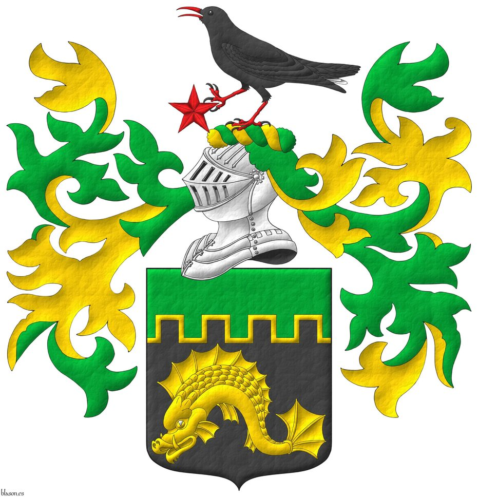 Sable, a dolphin naiant Or; a chief embattled Vert, fimbriated Or. Crest: Upon a helm, with a wreath Or and Vert, a cornish chough speaking proper, his dexter foot grasping the point of a mullet Gules. Mantling: Vert doubled Or.