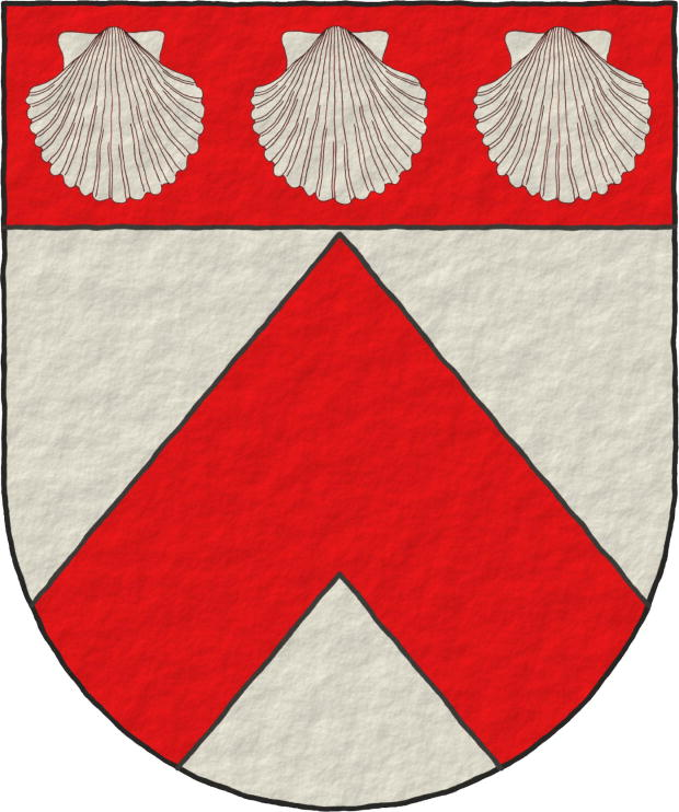 Argent, a Chevron Gules, on a Chief Gules, three Escallops Argent, in fess.