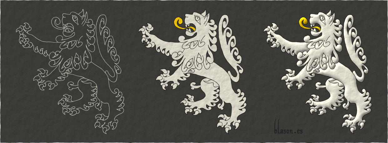 Painting schema of a Lion Argent, rampant, langued Or.