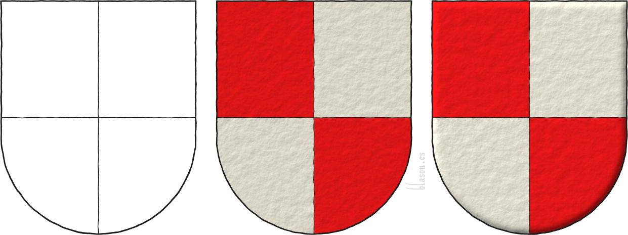 Quarterly Gules and Argent, schema