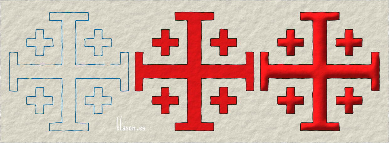 Cross of Jerusalem, how to paint in Gules