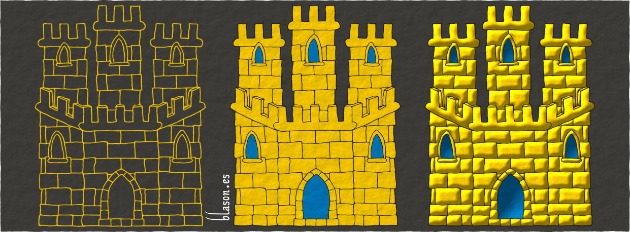 How to paint a Castle Or, triple towered, embattled, port and windows Azure, and masoned Sable.