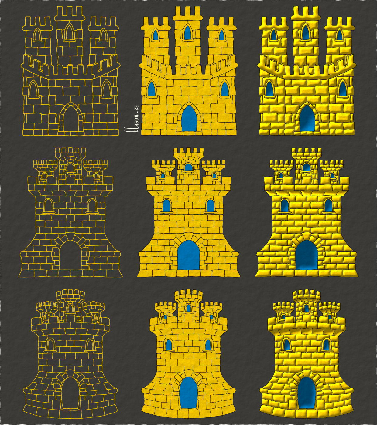 A Castle Or, triple towered, embattled, port and windows Azure, and masoned Sable.