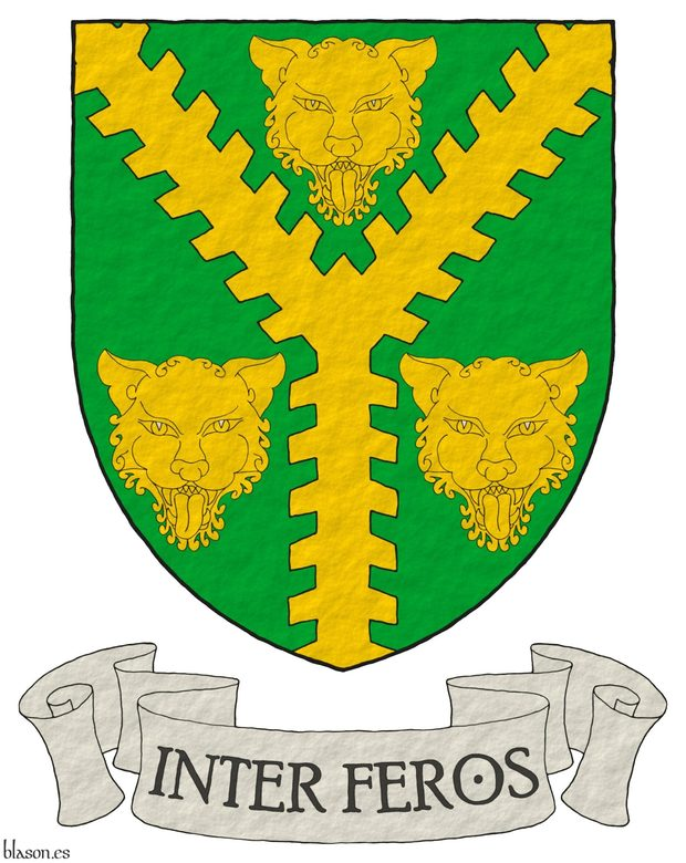 Vert, a Pall raguly Or between three Leopard's faces. Motto: «Inter feros» in letters Azure within a scroll Argent.