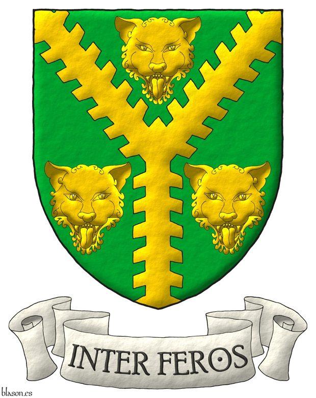Escudo de sinople, una perla ecotada de oro entre tres cabezas de leopardo de oro. Lema: «Inter feros» de sable sobre una filacteria de plata.