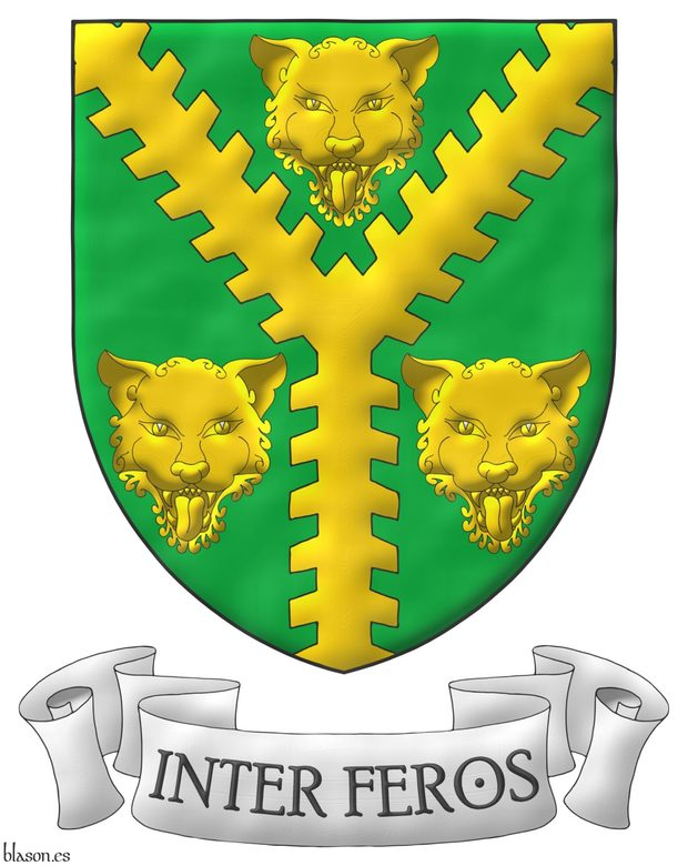 Vert, a Pall raguly Or between three Leopard's faces Or. Motto: «Inter feros» in letters Sable within a scroll Argent.