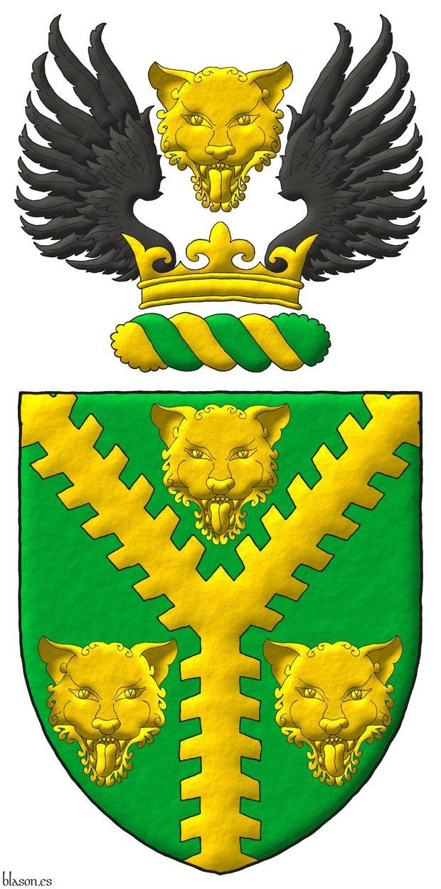 Escudo de sinople, una perla ecotada de oro entre tres cabezas de leopardo de oro. Timbrado de un burelete de oro y sinople surmontado de una corona de oro surmontada de una cabeza de leopardo de oro acompañada de dos medios vuelos de sable.