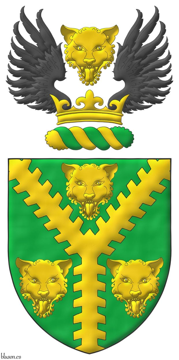Vert, a Pall raguly Or between three Leopard's faces Or. Crest: Upon a Wreath Or and Vert, on a Coronet Or a Leopard's face Or between two Wings Sable.