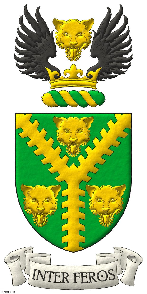 Vert, a Pall raguly Or between three Leopard's faces Or. Crest: Upon a Wreath Or and Vert, on a Coronet Or a Leopard's face Or between two Wings Sable. Motto: «Inter feros» in letters Sable within a scroll Argent.