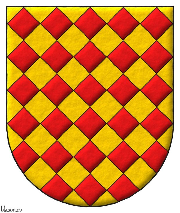 Lozengy Or and Gules.