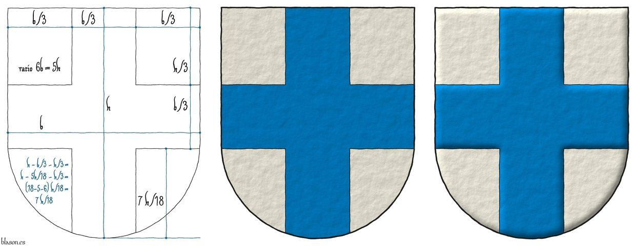 Escudo de plata, una cruz de azur.