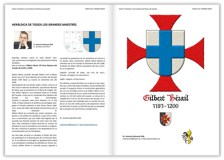Argent, a cross Azure. Behind the shield a cross patty Gules.