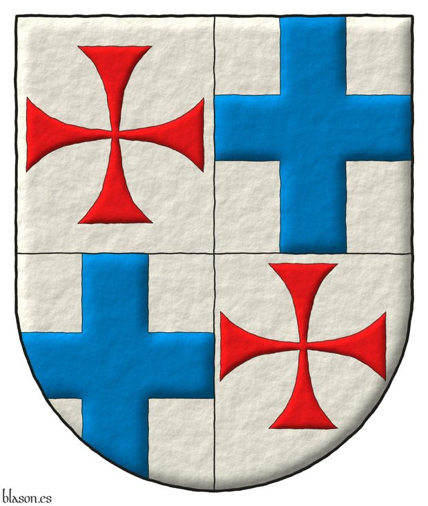 Quartered: 1 and 4 Argent, a cross patty Gules; 2 and 3 Argent, a cross Azure