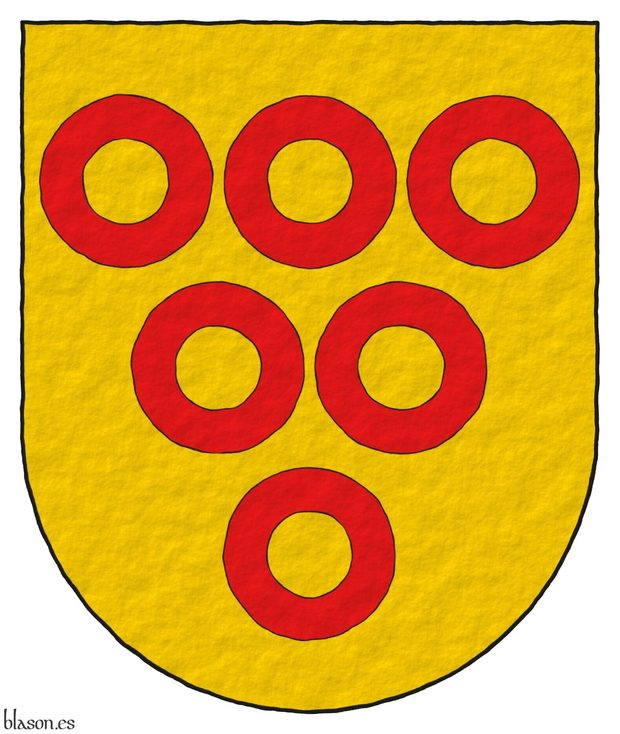Or, six annulets Gules.