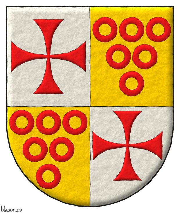 Quartered: 1 and 4 Argen, a cross patty Gules; 2 and 3 Or, six annulets Gules