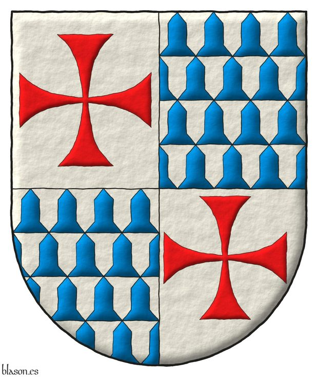 Quartered: 1 and 4 Argen, a cross patty Gules; 2 and 3 Vair