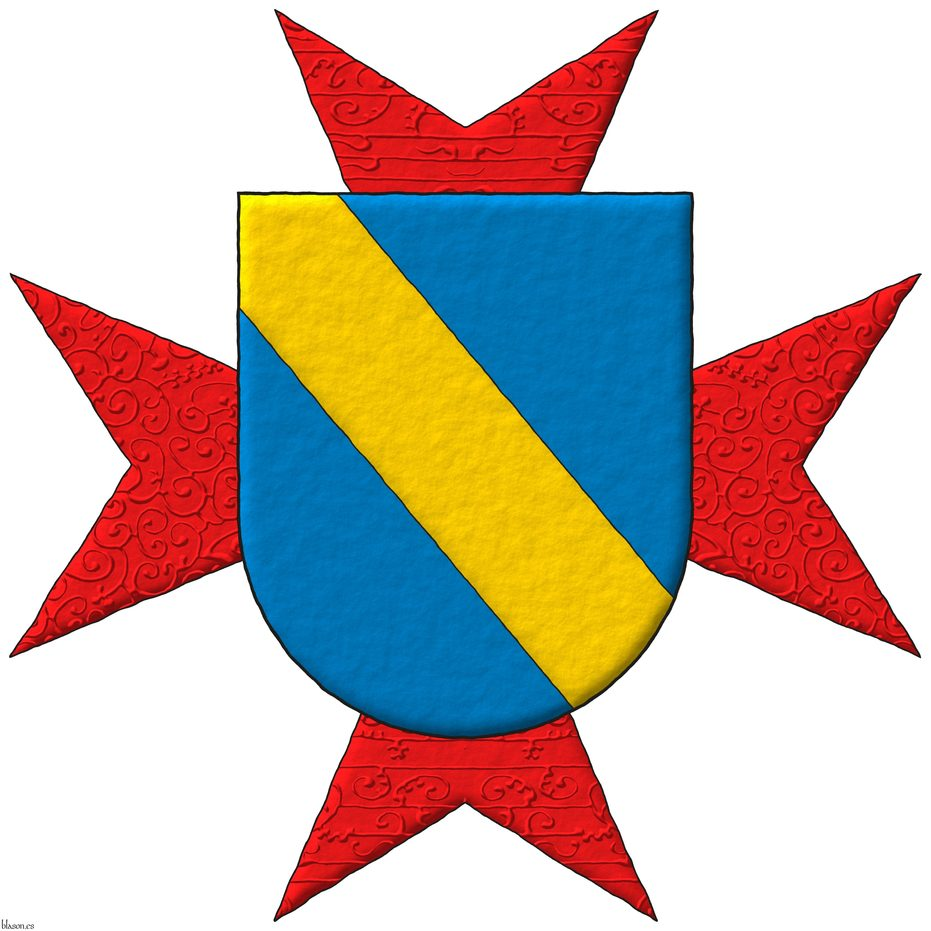 Azure, a bend Or. Behind the shield an eight-pointed cross patty Gules.