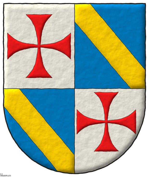Quartered: 1 and 4 Argent, a cross patty Gules; 2 and 3 Azure, a bend Or