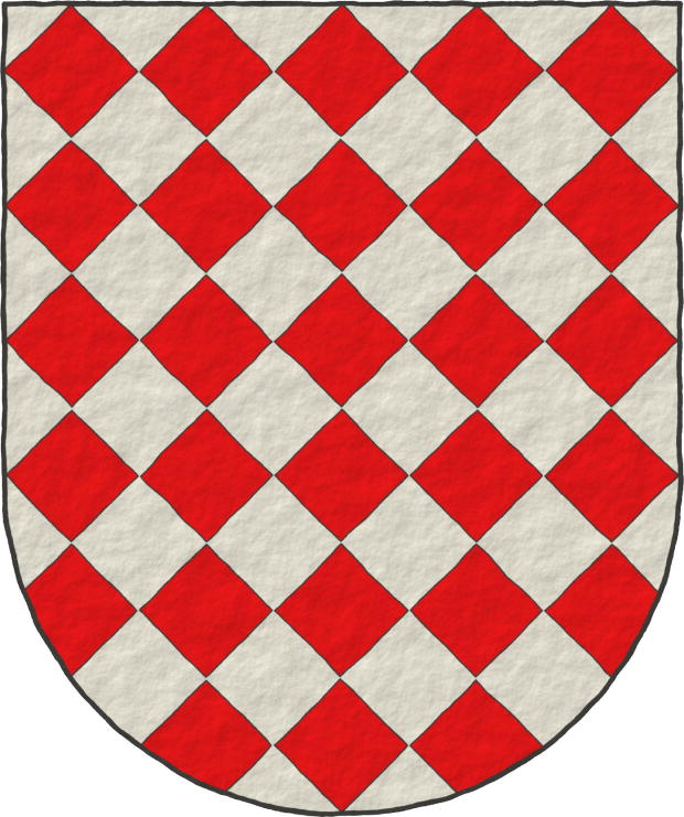 Lozengy Argent and Gules.