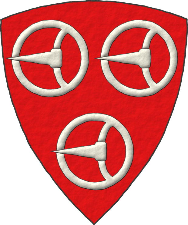 Gules, three Buckles Argent, Tomás Roscelyn