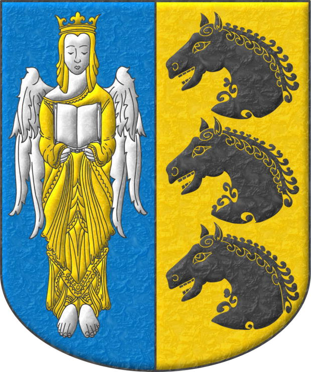 Party per pale 1 Azure, an Angel Argent, crowned, crined and vested Or holding an open Book Argent; 2 Or, three Horse's heads Sable, couped, in pale.