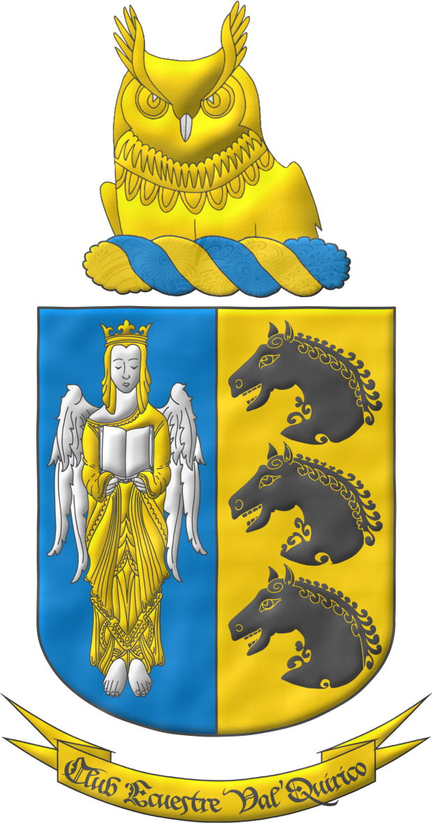 Party per pale: 1 Azure, an Angel Argent, crowned, crined and vested Or holding an open Book Argent; 2 Or, three Horse's heads Sable, couped, in pale. Crest: Upon a Wreath Or and Azur, an Owl's head couped at the shoulders Or and beaked Argent. Motto «Club Ecuestre Val'Quirico».