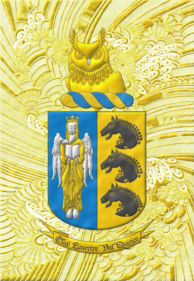Party per pale 1 Azure, an Angel Argent, crowned, crined and vested Or holding an open Book Argent; 2 Or, three Horse's heads Sable, couped, in pale. Crest Upon a Wreath Or and Azur, an Owl's head couped at the shoulders Or and beaked Argent. Motto «Club Ecuestre Val'Quirico».