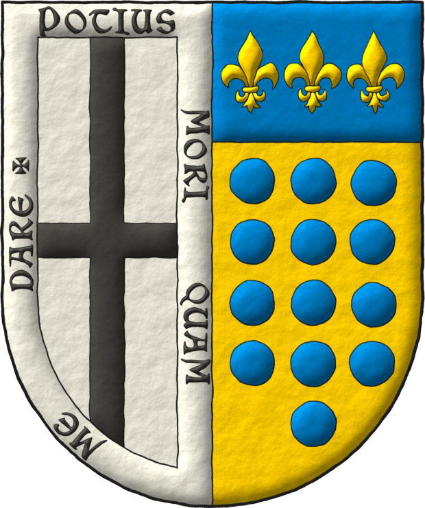 Interpreted coat of arms: with a semi-circular shape; illuminated with metals argent and or and colours sable and azure; outlined with sable; and a freehand finish.