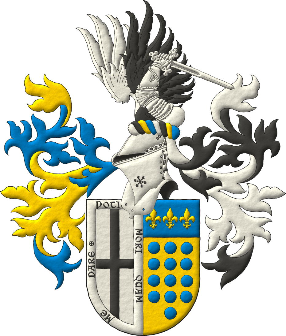 Escudo partido: 1o de plata, una cruz plena de sable, y una bordura de plata con el lema «Potius mori quam me dare», que es de Vidriales; 2o de oro, trece roeles de azur, en tres palos de 4, 5 y 4, y el jefe de azur con tres flores de lis de oro, que es de Bustamante. Timbrado de un yelmo de acero bruñido, puesto de perfil mirando a la diestra, forrado de sable; lambrequines de azur doblados de oro a la diestra y de sable doblados de plata a la siniestra; y burelete de plata, sable, oro y azur; cimado de un brazo armado de plata, naciente, empuñando una espada de lo mismo y acompañado de dos medios vuelos, uno de sable y el otro de plata.