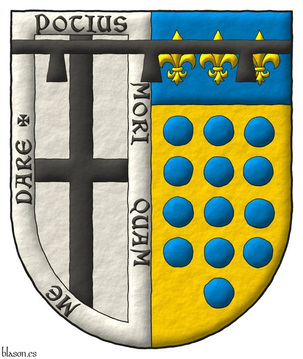 Interpreted coat of arms: with a semi-circular shape; illuminated with metals argent and or and colors sable and azure; outlined with sable; and a freehand finish.