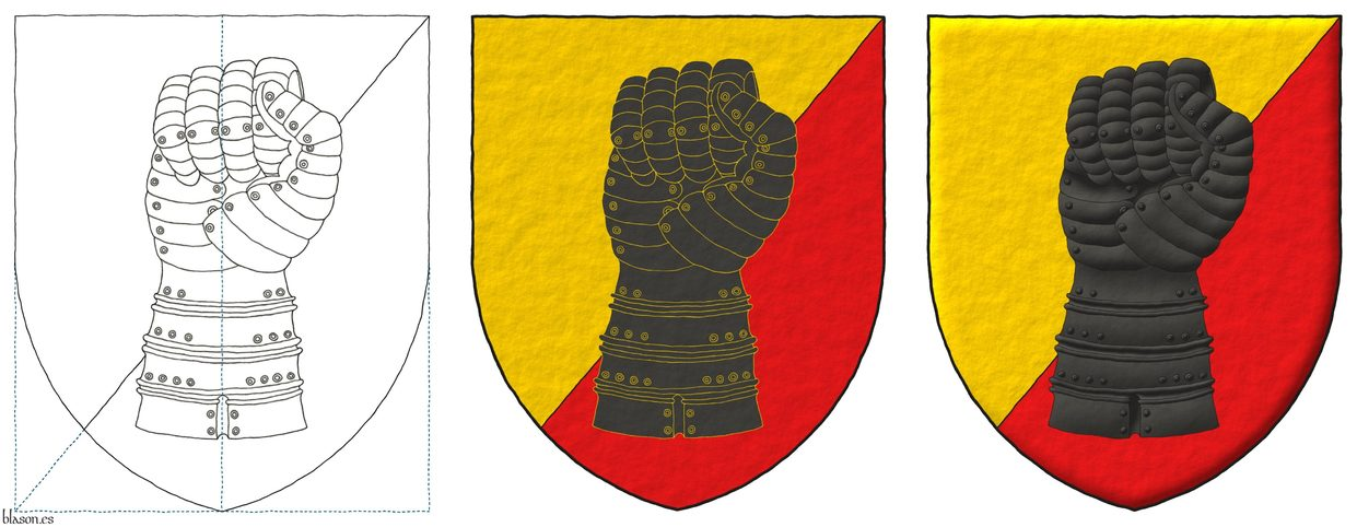 Party per bend sinister Or and Gules, a clenched gauntlet Sable.