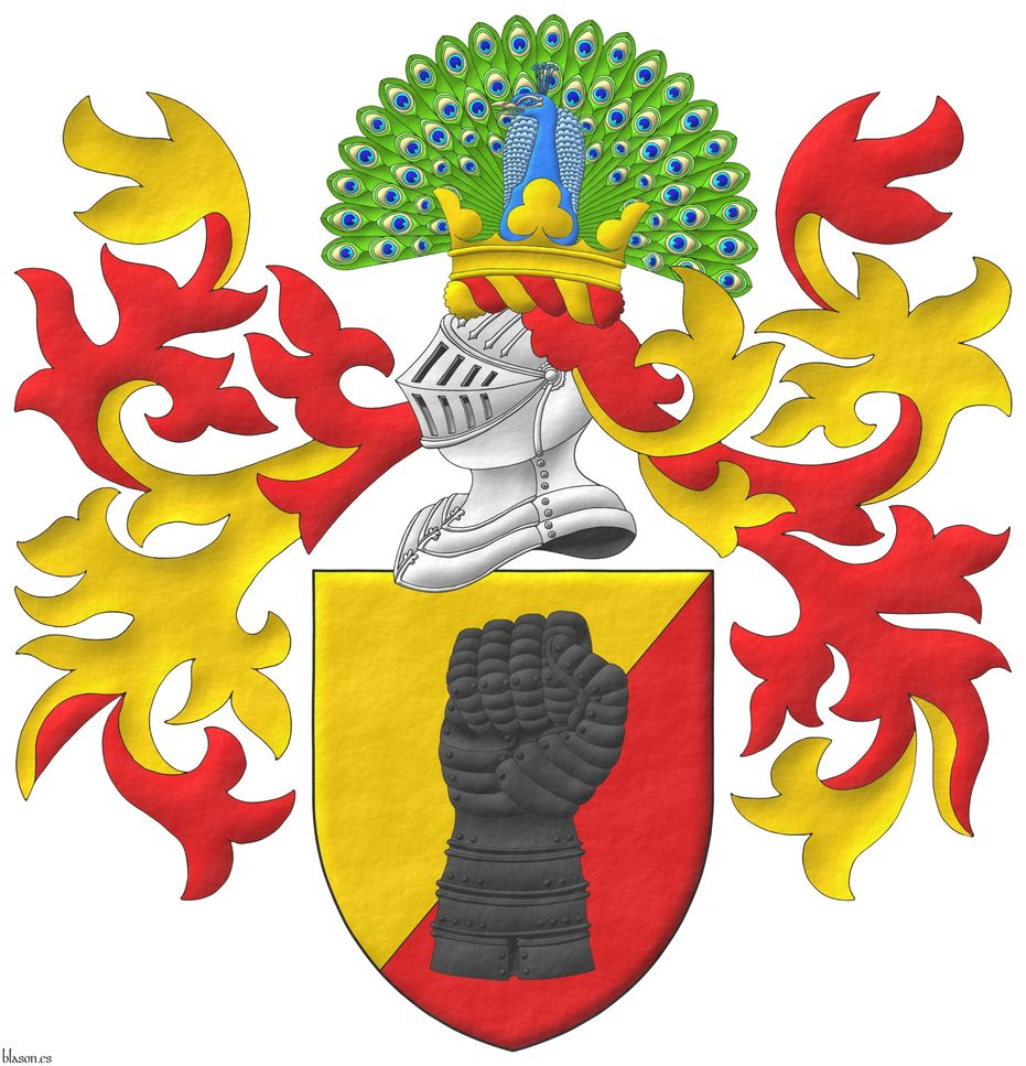 Party per bend sinister Or and Gules, a clenched gauntlet Sable. Crest: Upon a helm, with a wreath Or and Gules, a peacock in his splendour proper, on a coronet trefoiled Or. Mantling: Gules doubled Or.
