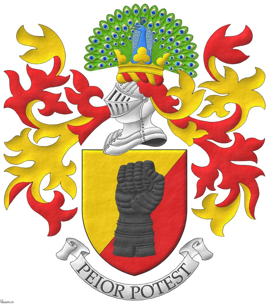 Party per bend sinister Or and Gules, a clenched gauntlet Sable. Crest: Upon a helm, with a wreath Or and Gules, a peacock in his splendour proper, on a coronet trefoiled Or. Mantling: Gules doubled Or. Motto: «Peior potest».