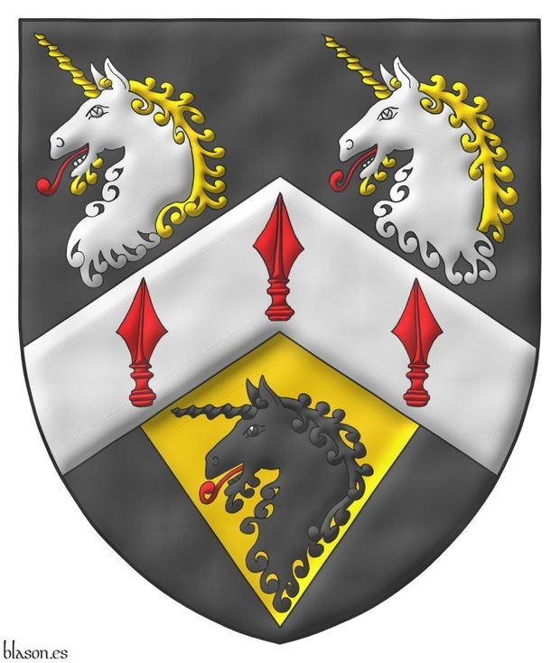 Sable, on a chevron Argent three spears' heads Gules, in chief two unicorns' heads erased Argent, horned and crined Or, langued Gules, in base on a pile of the last issuant from the chevron a unicorn head erased Sable, langued Gules.
