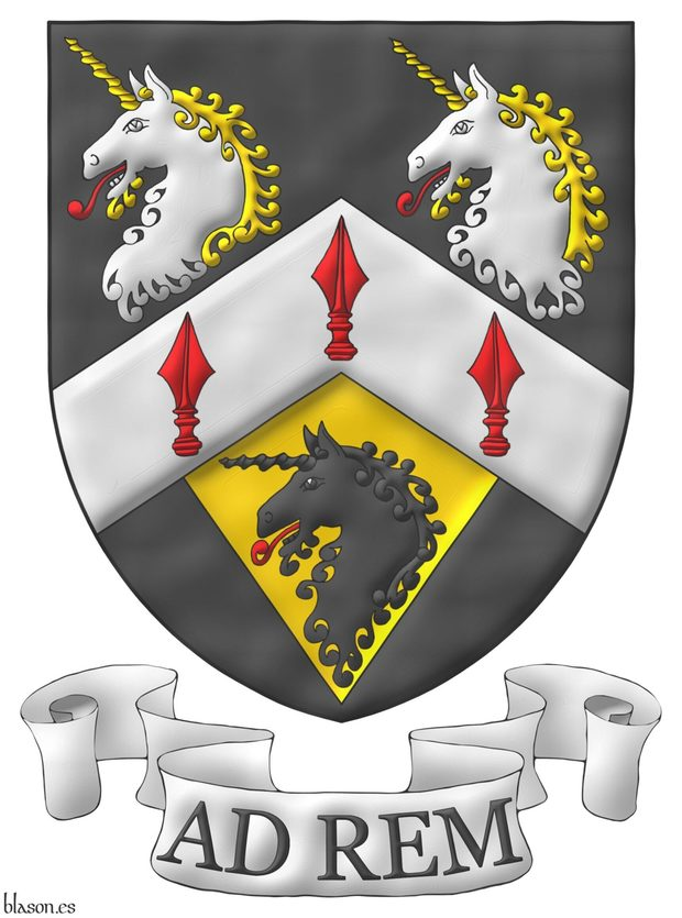 Sable, on a chevron Argent three spears' heads Gules, in chief two unicorns' heads erased Argent, horned and crined Or, langued Gules, in base on a pile of the last issuant from the chevron a unicorn head erased Sable, langued Gules. Motto: «Ad rem».