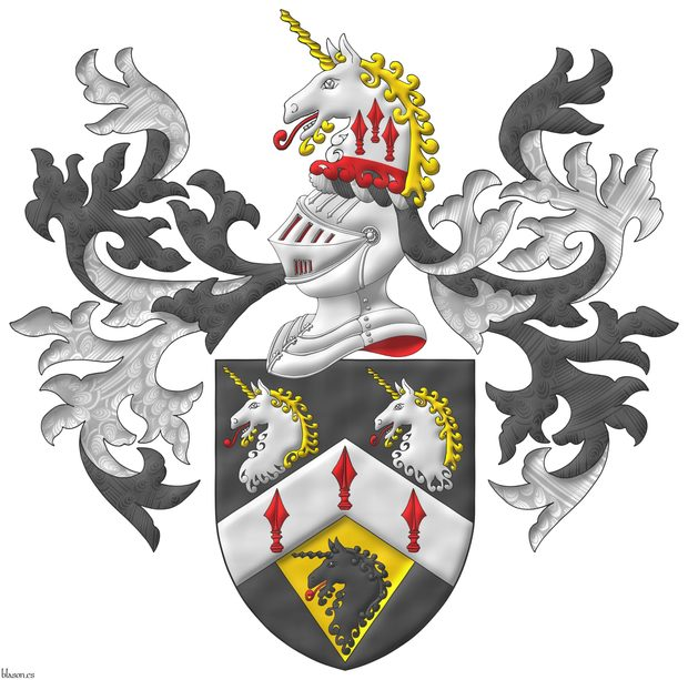 Sable, on a chevron Argent three spears' heads Gules, in chief two unicorns' heads erased Argent, horned and crined Or, langued Gules, in base on a pile of the last issuant from the chevron a unicorn head erased Sable, langued Gules. Crest: Upon a helm with a wreath Argent and Sable, a unicorn's head Argent, erased Gules, horned and crined Or, langued gules, charged upon the neck with three spears' heads cheveronwise Gules. Mantling: Sable doubled Argent.