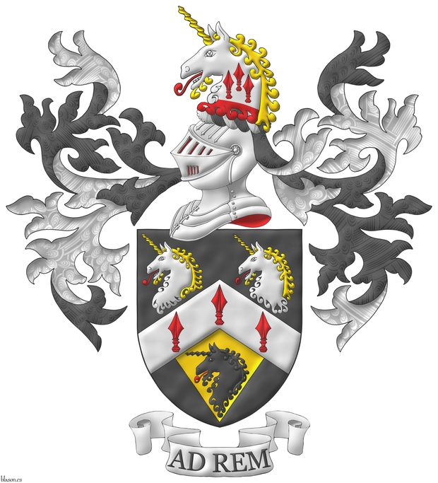 Sable, on a chevron Argent three spears' heads Gules, in chief two unicorns' heads erased Argent, horned and crined Or, langued Gules, in base on a pile of the last issuant from the chevron a unicorn head erased Sable, langued Gules. Crest: Upon a helm with a wreath Argent and Sable, a unicorn's head Argent, erased Gules, horned and crined Or, langued gules, charged upon the neck with three spears' heads cheveronwise Gules. Mantling: Sable doubled Argent. Motto: «Ad rem».