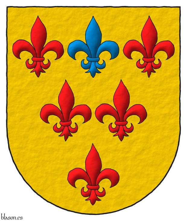 Or, six fleurs de lis, three, two, one, five Gules and one in the middle of the chief Azure.