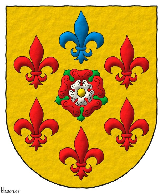 Or, a double Rose Gules and Argent, barbed Vert, and seeded Or within six Fleurs de Lys in orle, five Gules and one in chief Azure.