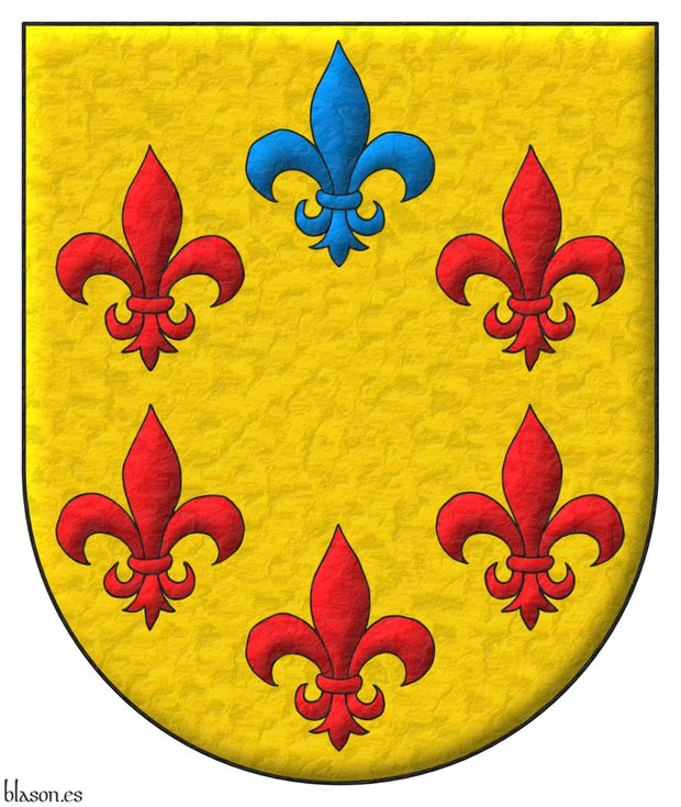 Or, six Fleurs de Lys in orle, five Gules and and one in chief Azure.